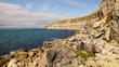 Cliff Rock Climbing area at the Isle of Portland near Weymouth in Dorset, United Kingdom.