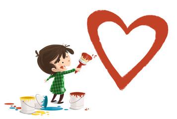 niño pintando un corazon © cirodelia