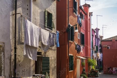 Drying laundry in Burano island, Italy - 242052167