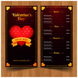 Valentines day menu template in realistic style  - 242055592