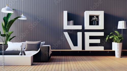 Leinwanddruck Bild The Love living room - Valentine interior / 3D render image