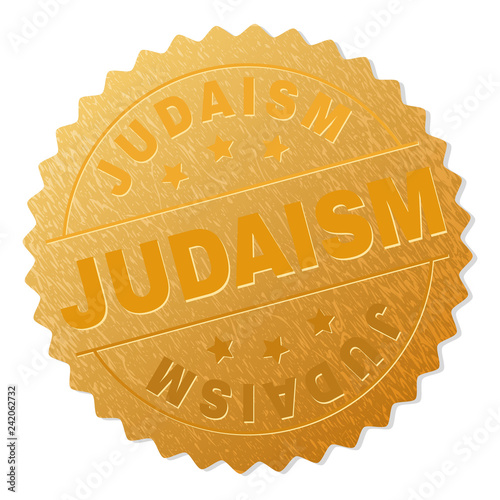 JUDAISM gold stamp award. Vector golden medal with JUDAISM text. Text labels are placed between parallel lines and on circle. Golden skin has metallic structure.