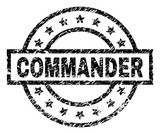 COMMANDER stamp seal watermark with distress style. Designed with rectangle, circles and stars. Black vector rubber print of COMMANDER caption with scratched texture. - 242066767