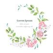 Watercolor wreath for wedding or romantic design. Floral composi
