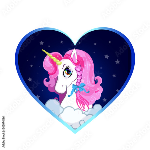 Cartoon white unicorn head with pink hair portrait inside of heart background.