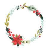 Watercolor floral wreath - 242084140