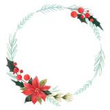 Watercolor floral wreath - 242084164