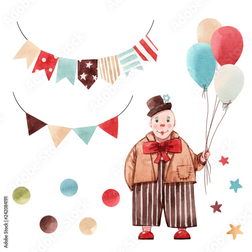 Watercolor circus clown set