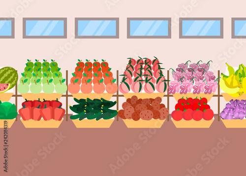 super market shelves fresh fruits vegetables assortment organic food concept modern supermarket shopping mall interior flat horizontal - 242084319