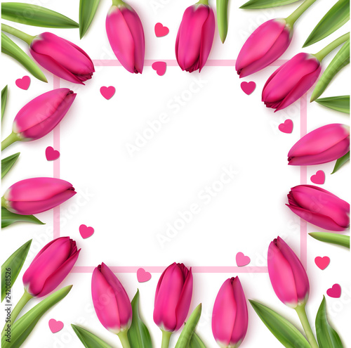 Valentine's day design template. Holiday background with pink tulips and decorative hearts. Vector illustration. Spring flowers on white background