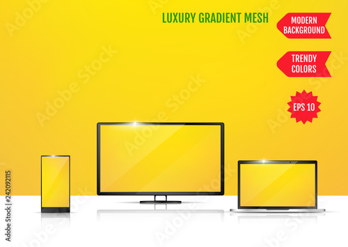 Modern abstract background. Colors transition concept. Gradient mesh. Trendy colored Surface. An example of the use of the proposed background on the screen of a laptop, smartphone and TV
