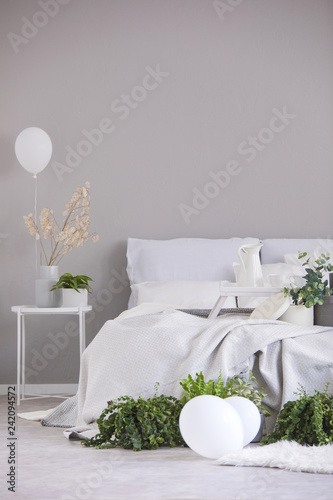 Urban jungle and white balloons in elegant bedroom interior with king size bed and copy space on the empty grey wall
