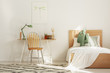 White and wood scandinavian kid's room with bed and workspace - 242095331