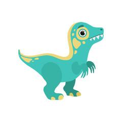 Cute blue dinosaur, lovely baby dino cartoon character vector Illustration