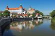 Leinwanddruck Bild - Neuburg an der Donau, Germany. Neuburg Castle, a residence of Dukes of Palatinate-Neuburg, reflected in Danube in sunny day. The Renaissance castle was built in 1530-1545.