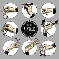 Set of round icons in vintage engraving style with hands and accessories. Retro business icons. Vector illustration © Raman Maisei