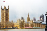 the British Parliament building in London - 242105788