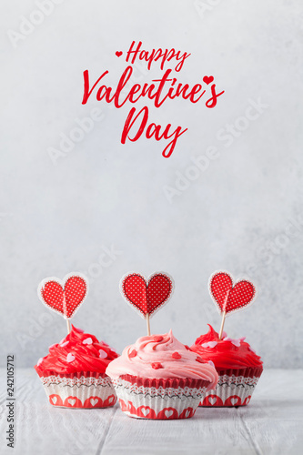 Delicious Valentine's day cupcakes © karandaev