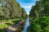 Summer view of a boat canal in Sweden, low on water - 242107332