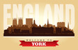 York United Kingdom city skyline vector silhouette