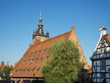 Great mill and church of St. Catherine in Gdansk. Poland
