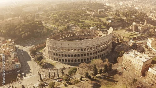 Aerial view of crowded famous Colosseum or Coliseum amphitheatre in Rome, Italy