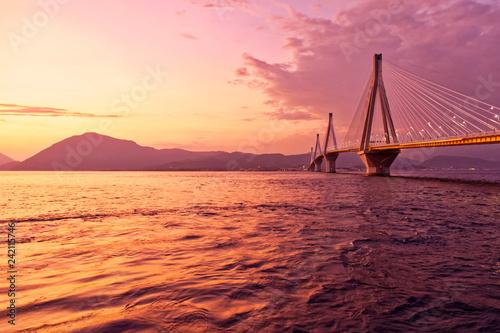 Greek sunset in Peloponnese, Rio Antirio bridge scenic view - 242115746