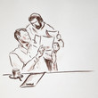 Two men looking papers and discuss something in office - drawn pastel pencil graphic artistic illustration on paper