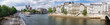 Leinwanddruck Bild Panorama with Notre Dame cathedral and boat on Seine in Paris, France