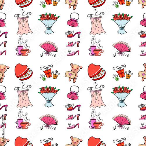 obraz lub plakat Gifts for girl seamless background