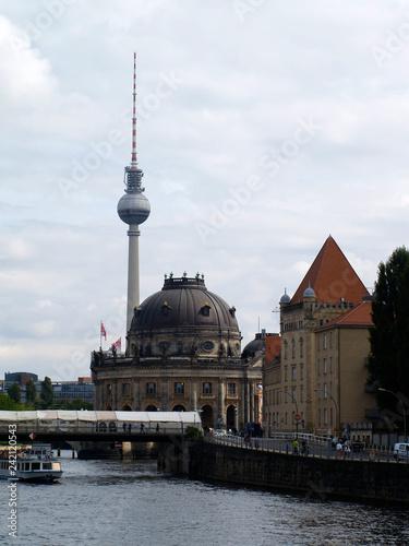 TV Tower Alexanderplatz in Berlin with the river Spree