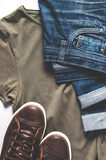 Men's clothing - jeans, sneakers and t-shirt. Flat lay and top view - 242122151