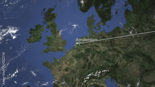 Airliner flying to Amsterdam, Netherlands from east, 3D animation