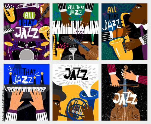 Jazz banners. Jazz music vector posters with musical instruments like saxophone and piano, double bass and drums for blues festival