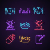 Business lunch neon light icons set - 242128594