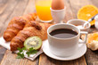coffee with croissant and egg