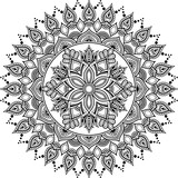 Mandala pattern black and white doodles sketch - 242133311