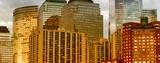 Detail of Manhattan buildings exterior at sunset, New York City - 242133753