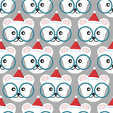 Beautiful vector seamless pattern of a little bear cub in a Christmas hat.