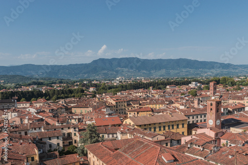 Amazing red rooftops of Lucca at Tuscany in  Italy - 242136574