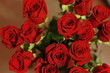 bouquet of roses on red background