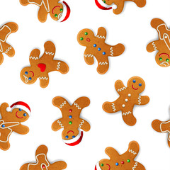 Vector seamless background with realistic christmas gingerbread mans, decorated with icing, on white background © rustamank