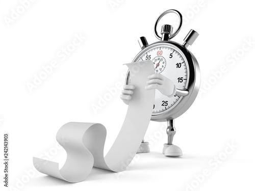 Leinwanddruck Bild Stopwatch character reading long list