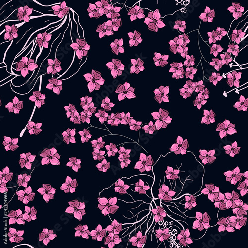 Realistic isolated seamless flower pattern. Vintage set. Wallpaper. Hand drawn. Vector illustration. Abstract flower drawing. - 242144966