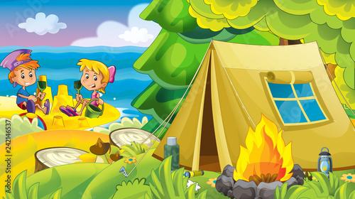 Leinwandbild Motiv kids playing at the beach having fun by the sea or ocean - illustration for children