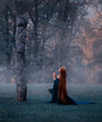 young fairy came to worship the great old sacred stone, dressed in an amazing velvet blue cloak-dress, kneeling in the middle of a frozen frozen forest, covered with frost. art photo in cold colors
