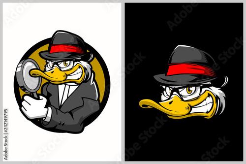 detective duck cartoon character vector logo template - 242149795