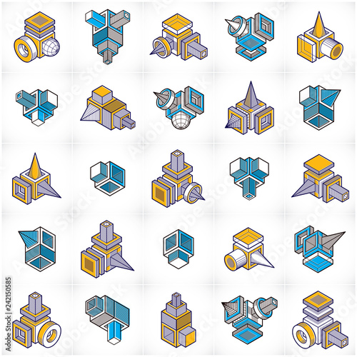Abstract vectors set, isometric dimensional shapes collection. - 242150585
