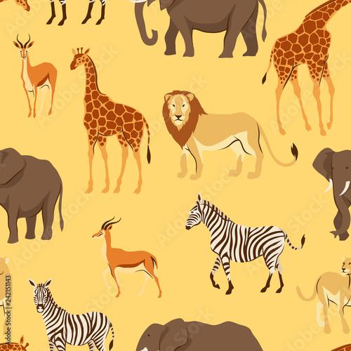 Seamless pattern with African savanna animals.