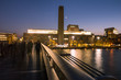 Tate Gallery Museum and River Thames at Dusk with Moon Crescent